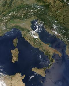 Aerial imagery of Italian coastline