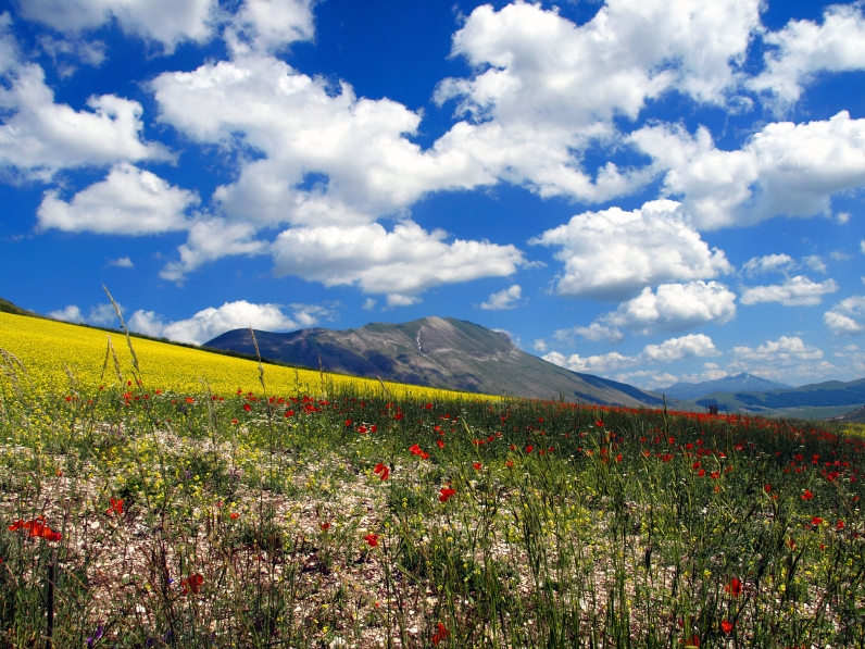 Partly Cloudy Skies over Monte Vettore - Castelluccio di Norcia