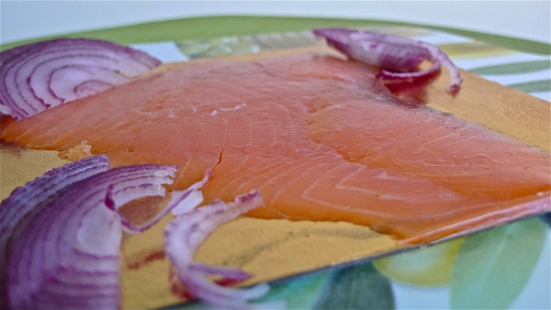 Smoked Salmon and sliced red onions