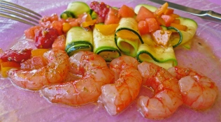 Sicilian red shrimp salad
