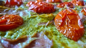 Lazy Person's Pesto-Based Flatbread Pizza