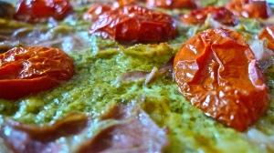 Lazy Person's Pesto-Based Flatbread Pizza