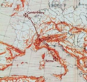 Via Francigena pilgrimage route - Map  ourtesy the European Counsel