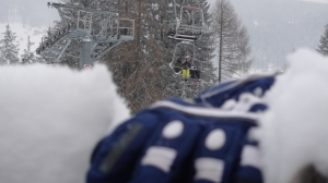 Chairlift through the snowfall