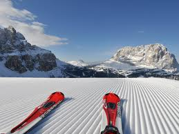 Skis on the Dolomites
