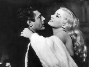 Mastroianni and Ekberg in La Dolce Vita