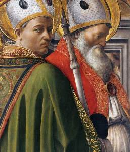 Sts Augustin and Ambrose, tempera and gold on wood (ca 1437), Fillippo Lippi, L'Accademia Albertina, Torino, Italy