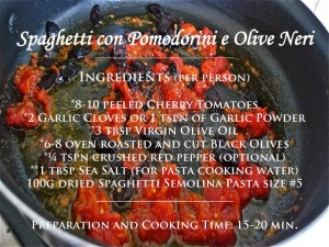 Spaghetti with Pomodorini & Black Olives recipe graphic | ©Tom Palladio Images