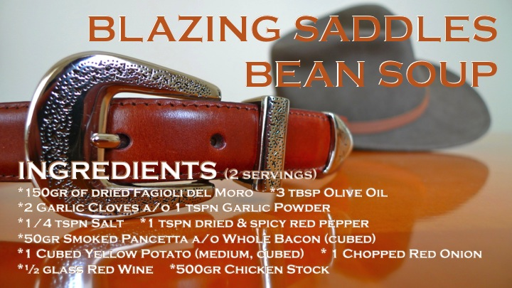 Blazing Saddles Bean Soup ingredients graphic | ©Tom Palladio Images