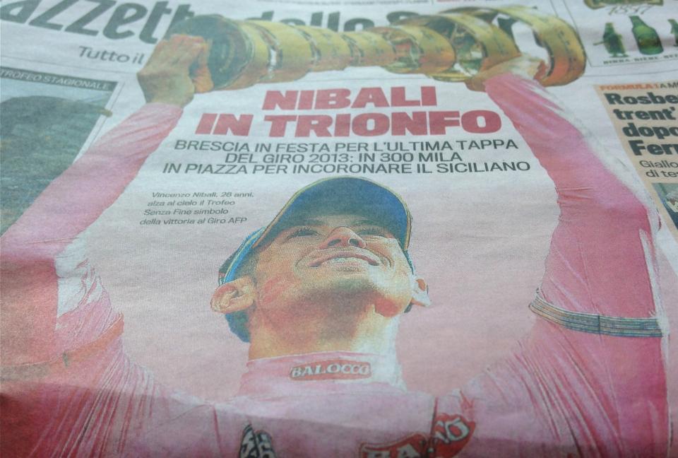 Gazzetta Dello Sport Giro Italia Niboli Wins 2013 Giro d 39 Italia Gazzetta Dello Sport Front Page Tom