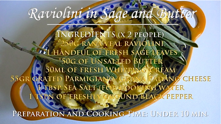 Raviolini in Sage and Butter recipe graphic | ©Tom Palladio Images