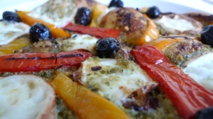Out of the oven: Flatbread pizza with mozzarella di bufala affumicata ...