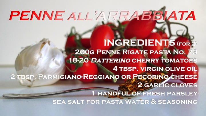 Penne all'Arrabbiata recipe graphic | ©Tom Palladio Images